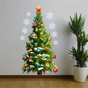 2019 New Christmas Wall Stickers Large Christmas Tree Sticker Removable Decal Home Decor Shopping Mall Window Decoration removable diy home decor christmas tree wall stickers