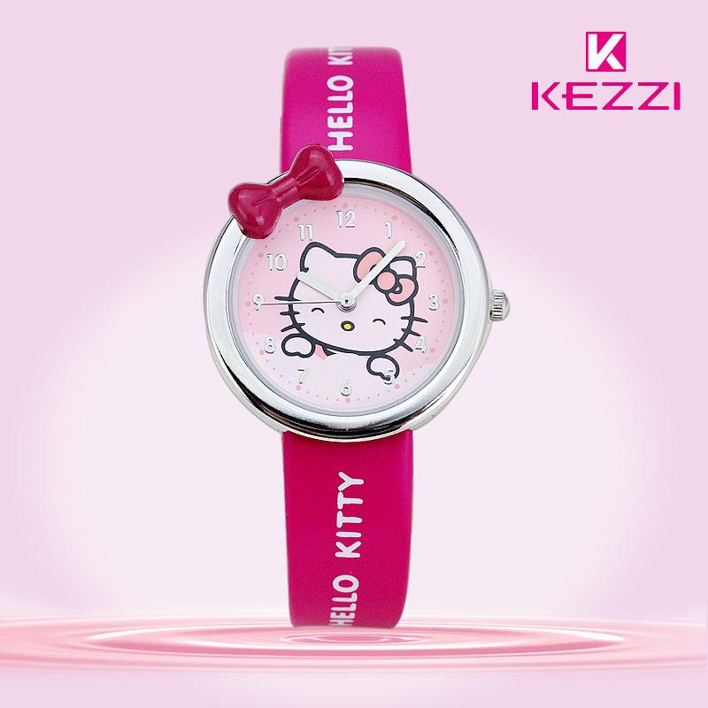 Prix pour Livraison gratuite kezzi enfants montres k446 quartz analogique bande dessinée ours bracelet en cuir montre-bracelet garçons filles montres étanches