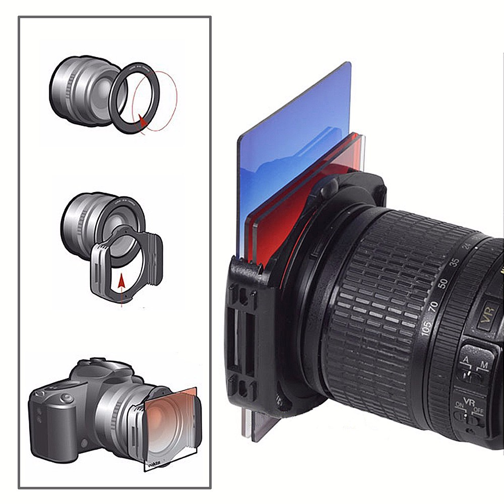 DSLR Camera Square Lens Filters Kit 10 in1 Full ND Graduated Blue Yellow Grey Orange with Holder Ring Adapter for photography 5