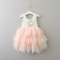 Everweekend Princess Girls Tutu Lace Party Dress Multi Color Vest Dress Ruffles Tulle Sweet Children Holiday Birth Day Dresses