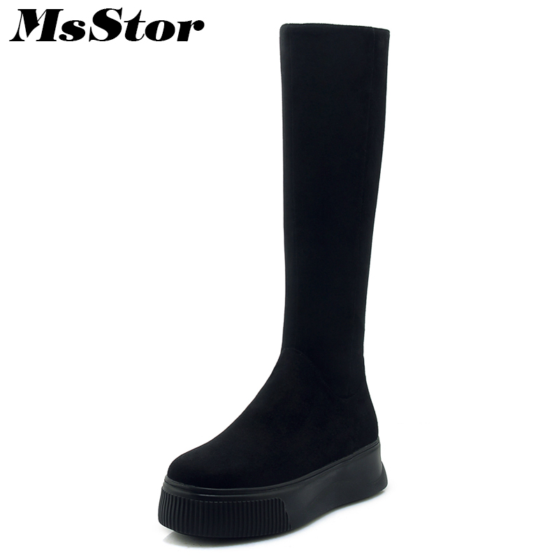 MsStor Round Toe Thick Bottom Women Boots 2018 Fashion Zipper Knee High Boots Women Winter Shoes Black Flat Boots Shoes For Girl настенно потолочный светильник sonex greca wood 160 k