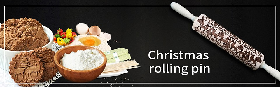 Pastry Board Christmas Rolling Pin
