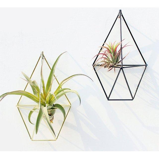 Hanging Planter Vase Geometric Wall Decor Container Metallic