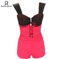 2016 New Swimwear Women One Piece Swimsuit Set Retro Vintage Bathing Suit Brazilian Monokini Style Summer