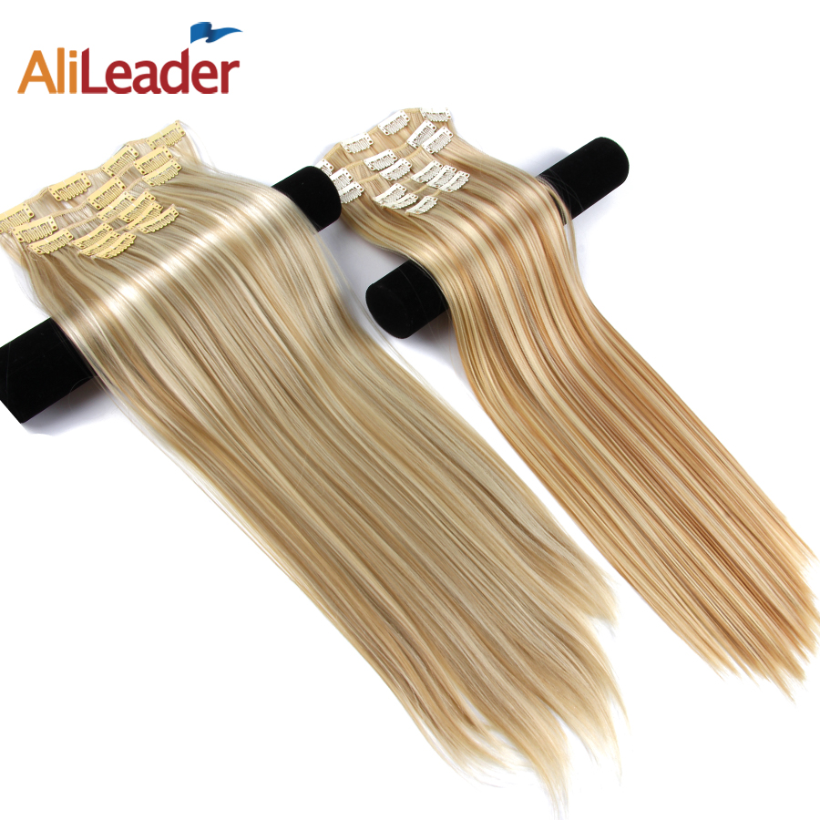 "Alileader 6Pcs / Set 22 ""Hairpiece 140G Straight 16 Clips In False Styling Hår Syntetisk Clip In Hair Extensions Värmebeständig"