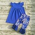 2017 Moda crianças roupas de bebê primavera verão remake roupas meninas do bebê projeto top plissado calças meninas ternos boutique