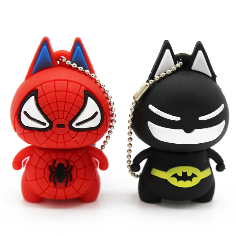 TEXT ME Cute Cartoon Batman/spiterman  Usb 4GB 8GB 16GB 32GB 64GB PendriveUSB Flash Drive Creative Gifty Stick Pendrive