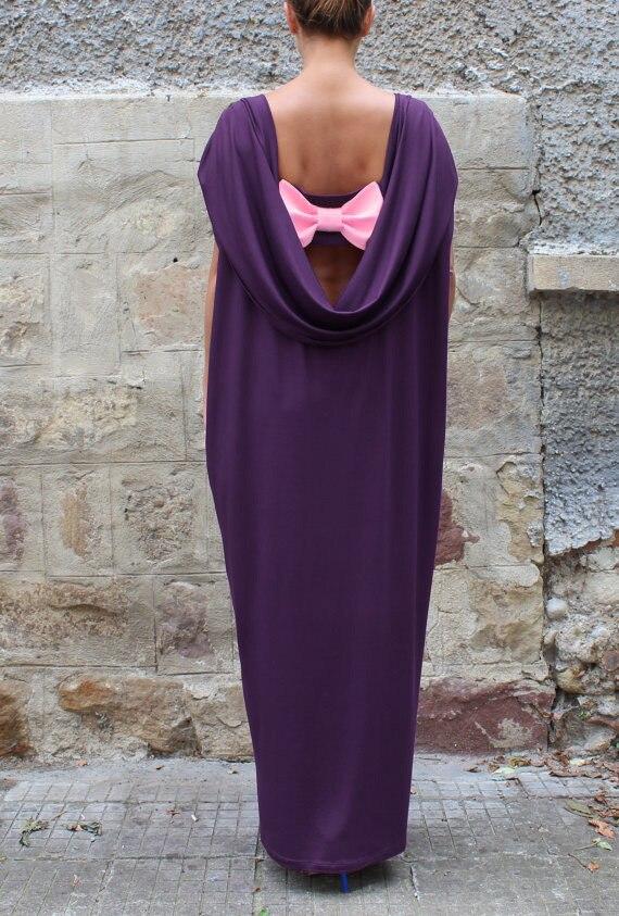 84f1a16d134f Winter Long Maxi Dress Casual Draped Dresses Draped Asymmetric Short Sleeve  Backless Bow Loose Dress Black Purple 2XL