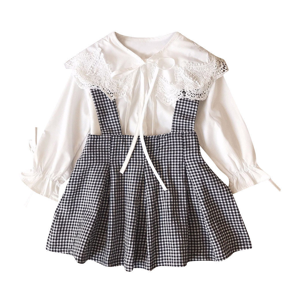 Toddler Kids Baby Girls Lace T shirt Tops+Plaid Outfits 2pcs Set Lace wild little fairy female treasure doll