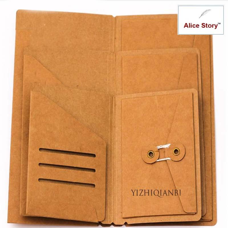 Kraft Paper Envelope Folder Card Holder L M S For Traveler's Notebook Cowhide Diary Refill