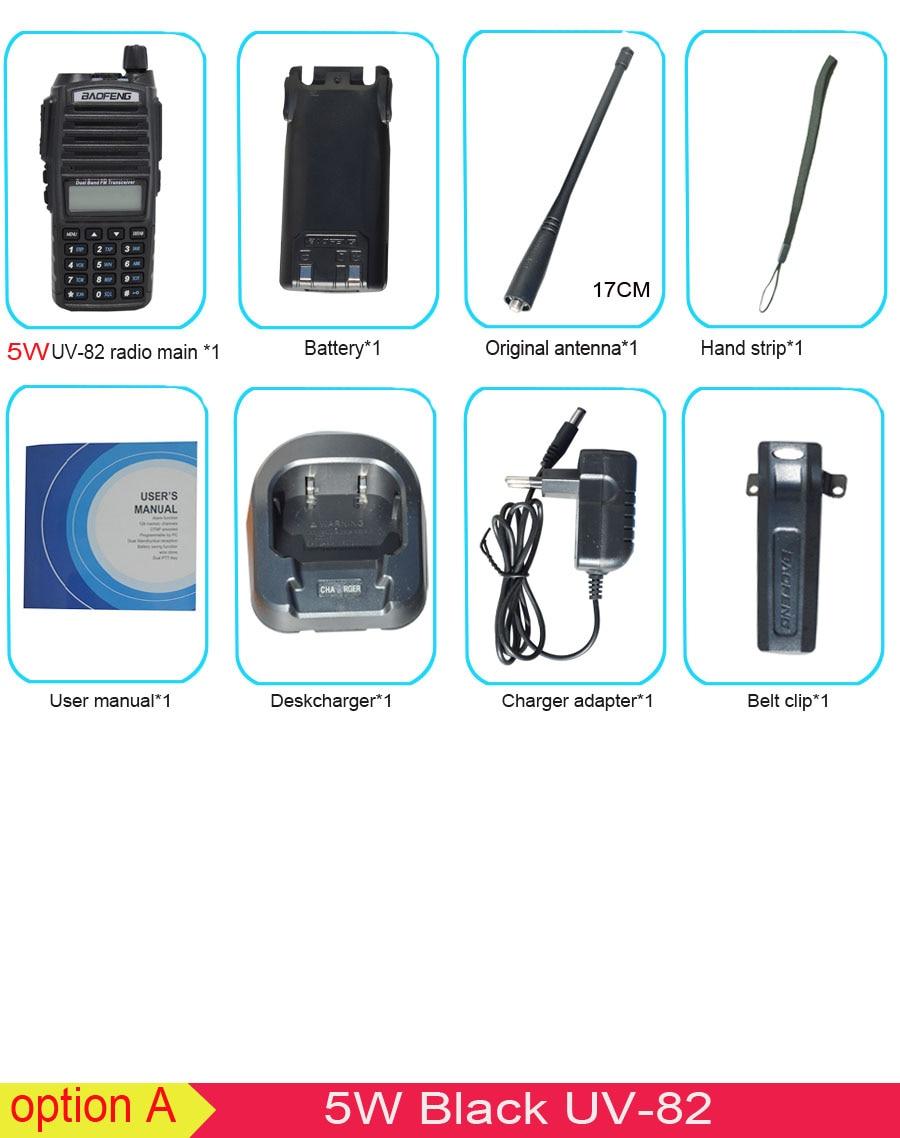 Популярная портативная рация, Baofeng, UV-82, две кнопки PTT, двухстороннее радио Vhf Uhf, двухдиапазонное Baofeng UV 82 UV82, двухстороннее радио - Цвет: 5W black