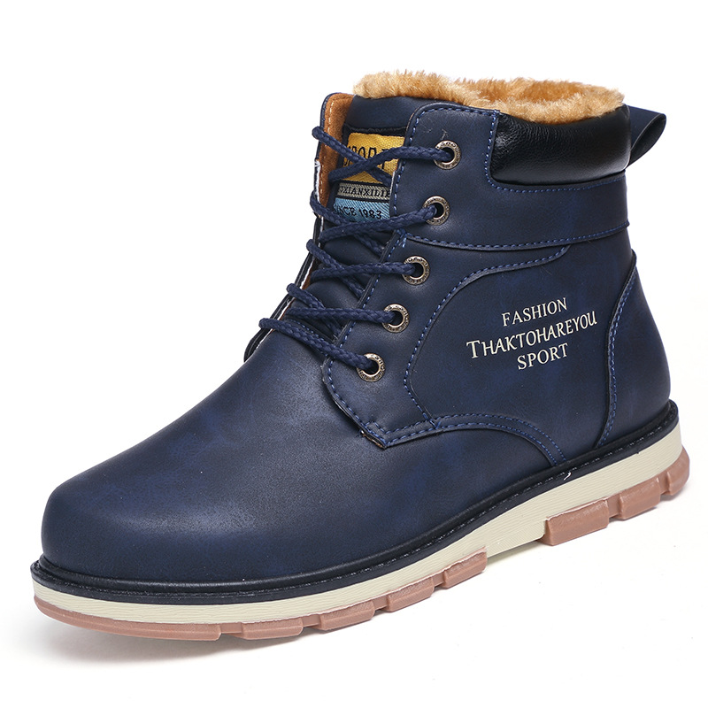 Chaussures Hiver Boucle Cowboy short Bout bleu Cheville Ouest Couleur Rond short marron Casual short Yellow Plush Mode short Blue Noir Bottes Brown Bottines Solide Black Hommes jaune De 7PU67r