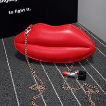 2016 umhängetasche bankett tag kupplung kette von paket dreidimensionalen roten lippen personalisierte tasche stil frauen handtasche