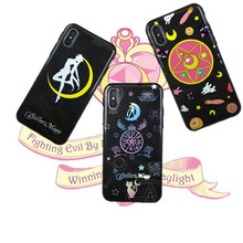 Glossy glitter Sailor Moon Soft Phone Case For iPhone XS Max case 6 6S 7 8 Puls X XR Cartoon Magic array Back Cover