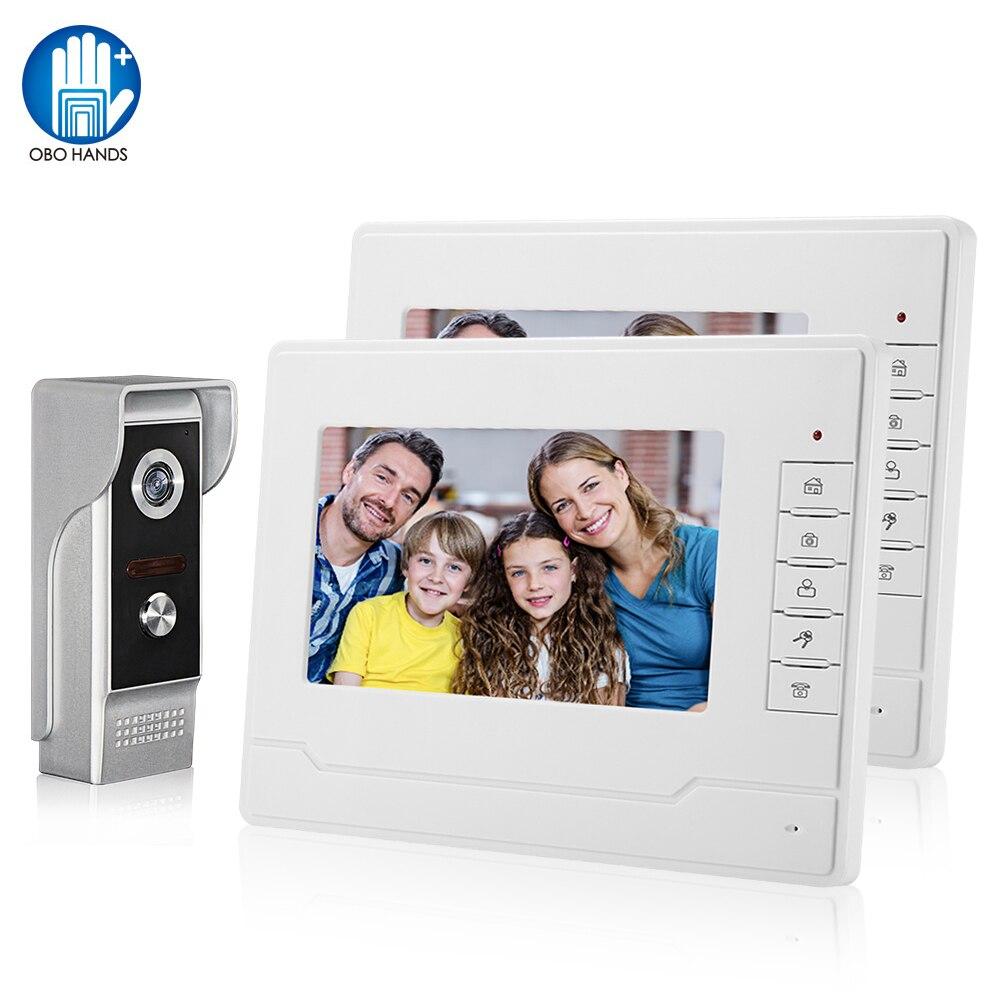 7'' Color Screen Video Intercom System Doorphone Door Phone 1 2 Monitors + Waterproof Outdoor IR Camera +16G SD Card Recording