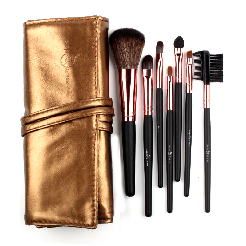 Sale! High Quality 7 Makeup Brush Set Kit in Sleek Golden Leather Bag Portable Make up Brushes high quality 7 makeup brush set kit in sleek berry red leather bag make up portable brushes free shipping