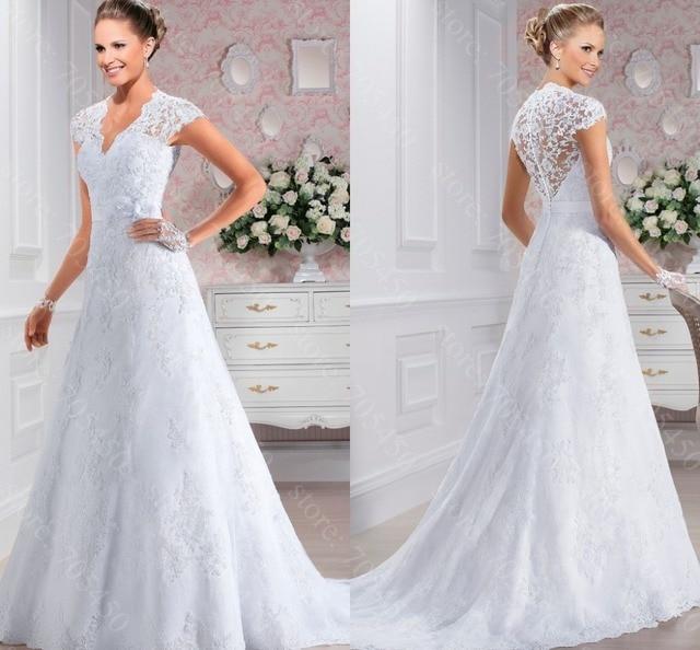 Beach Simple Lace Wedding Dress Verna Vestidos De Noiva See Through Back Dresses 2017 V
