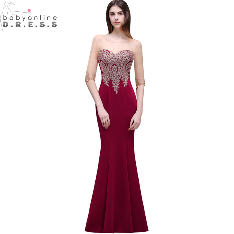 Robe De Soiree Longue Cheap Lace Half Sleeve Mermaid Burgundy Evening Dress Sexy Sheer Back Appliques Evening Gowns