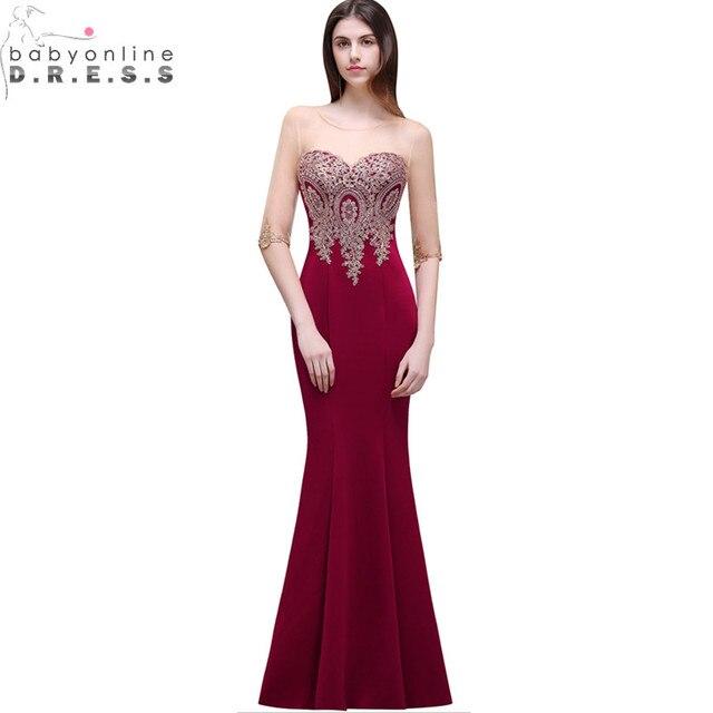Robe de Soiree Longue ucuz dantel yarım kollu Mermaid bordo gece elbisesi seksi Sheer geri aplikler abiye giyim