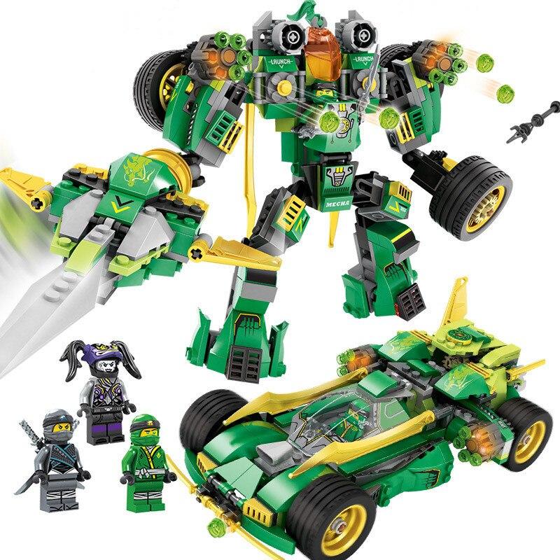 509 stücke 2in1 Umgewandelt Mech Auto Bausteine Kompatibel Legoing Ninjago Rüstung Zahlen Bricks Pädagogisches Spielzeug für kinder