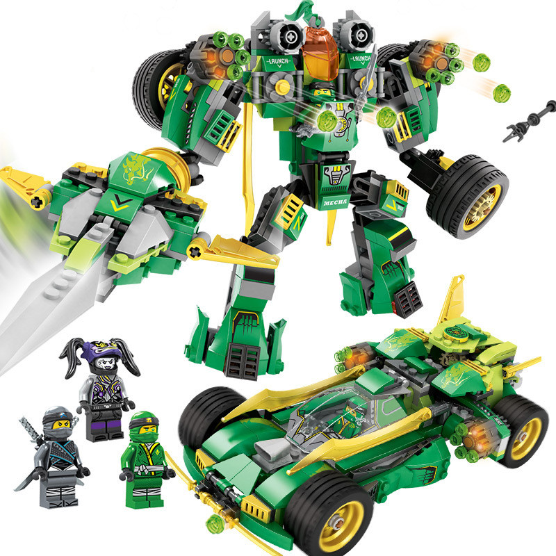 509pcs 2in1 Transformed Mech Car Building Blocks Compatible Legoing Ninjago Armor Figures Bricks Educational Toys for children