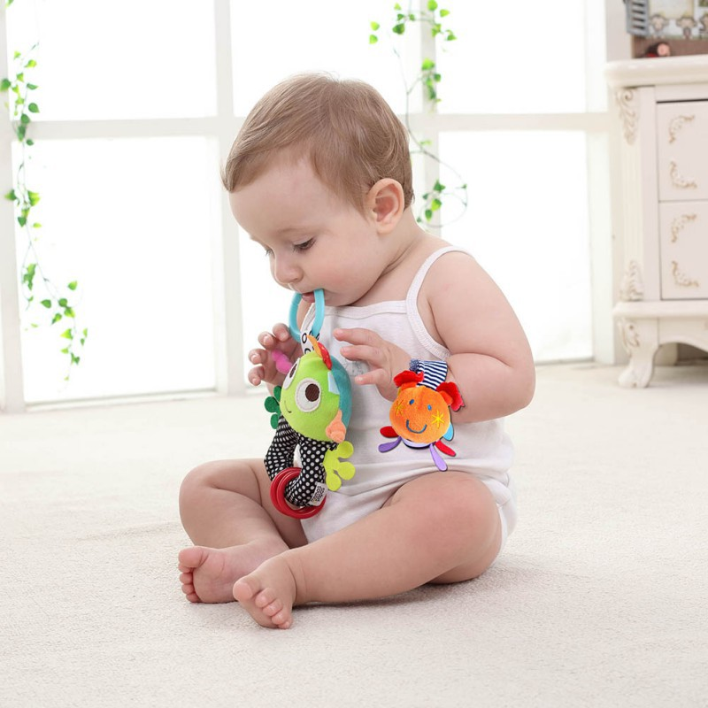 1pcs Soft Animal Watch Wrist Bell Bands Sound Hand Foot Bell Pet Socks Attention Baby Kids Intellectual Development Toys
