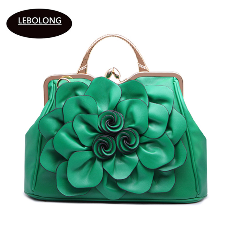 39a9ac8c09 Charm in hands Big Flower Women Leather Handbags Famous Brands Tote Luxury Women  Messenger Bags Lady Bolsa Pouch Handbags C0502-in Top-Handle Bags from ...