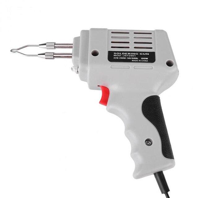 Pistola de ferro para solda, venda de pistola de ferro de solda elétrica pistola de ar quente calor ferramenta de solda à mão com fio de solda kit de ferramentas de reparo de solda eu 220v 100w
