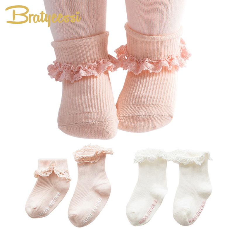Sweet Princess Baby Girls Socks Cotton Ruffles Ankle Length Baby Calcetines Newborn Socks Pink/White For 0-4 Years