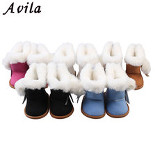 1 Pair Plush Winter Snow Boots For 43cm New Baby Dolls As For 18 Inch Baby Dolls Mini Shoes For baby Gift(China)
