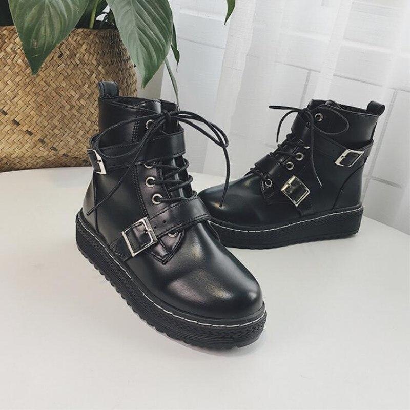 En Noir Nouveau D'hiver Cheville Moto Style Automne Vintage Cuir Femmes Britannique Bottes Chaussures 2018 Femme Mode zxTCqdwT