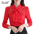 F&JE New 2017 Fashion Korean style Women Top Quality Elegant Slim Blouse Bow Design Hollow Out Chiffon Long Sleeve Shirt J432