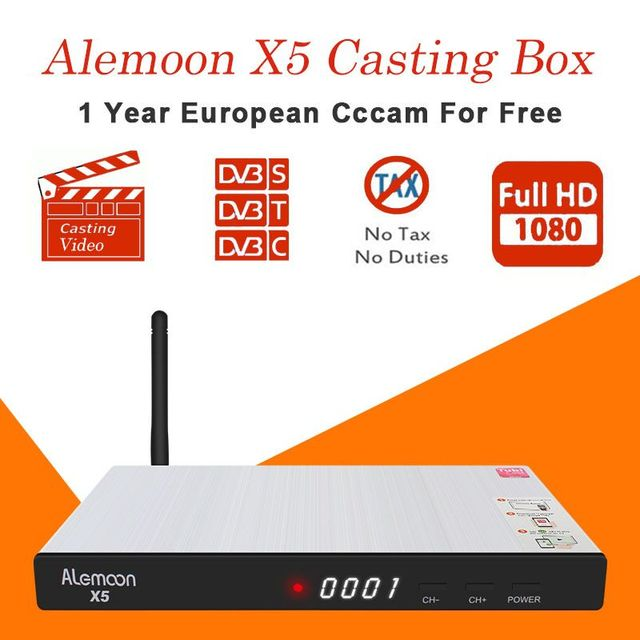 ALEMOON X5 IPTV Receiver Satellite HD receptor with 1 year Europe cccam clines Support DVB-S2/T2/C for Spain Italy Upgraded V8
