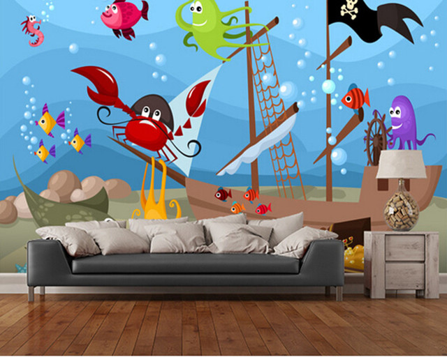 personnalis enfants de papier peint en contrebas bateau pirate 3d papier peint de bande. Black Bedroom Furniture Sets. Home Design Ideas