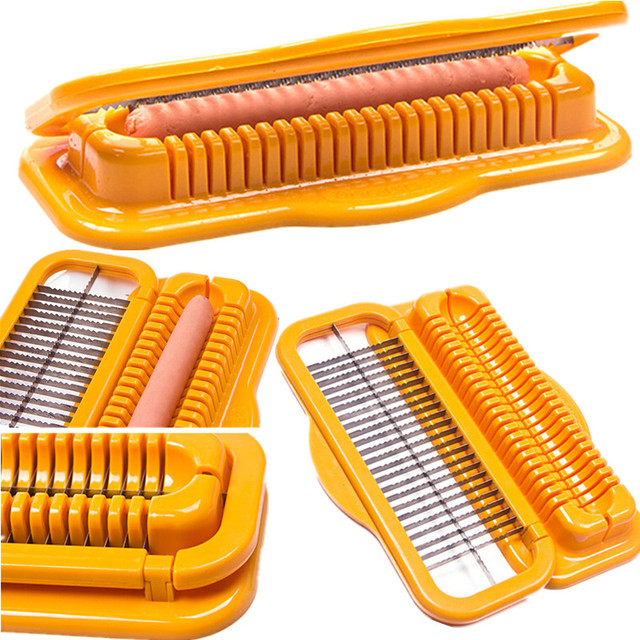 Kitchen Tools Yellow Hot Dog Cutter Slicer Safe Hot Dog