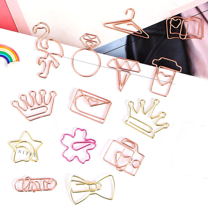 3pcs/lot Kawaii Rose Gold Paper Clips Bookmark Metal Binder Paper Clip Bookmark Office Statioinery School Office Supply