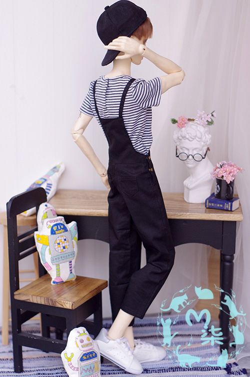 Casual Overall Bib pants for Bjd 1/4 MSD 1/3,SD13,SD17 Uncle DOD,SD Doll Clothes CMB102 navy wind college wind dress for 1 3 1 4 bjd sd10 msd bjd sd doll clothes accessories