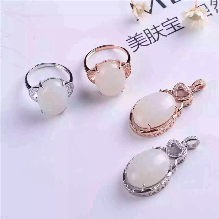 China Wind jade jewelry set 925 Sterling Silver Ring PendantChina Wind jade jewelry set 925 Sterling Silver Ring Pendant