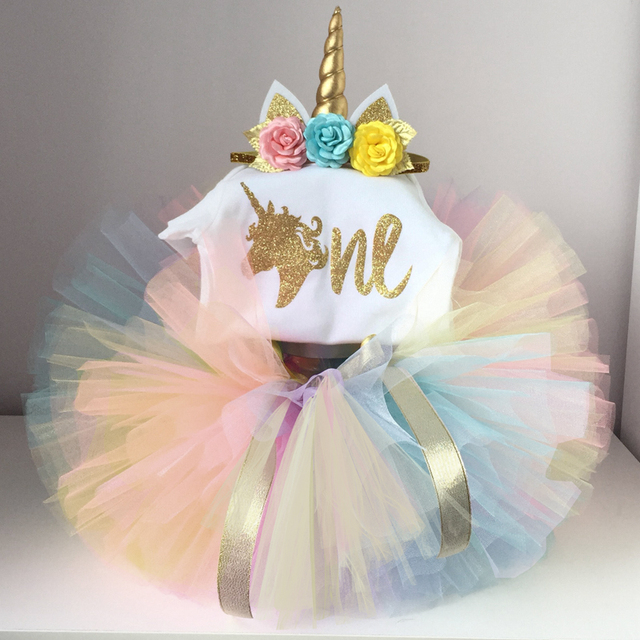 dc2beab857c8a US $8.06 13% OFF|Newborn Baby Unicorn Dress+Unicorns Headband Infant Girls  Christening Gown Toddler Girl 1 Year Birthday Outfits Kid Clothing 12M-in  ...
