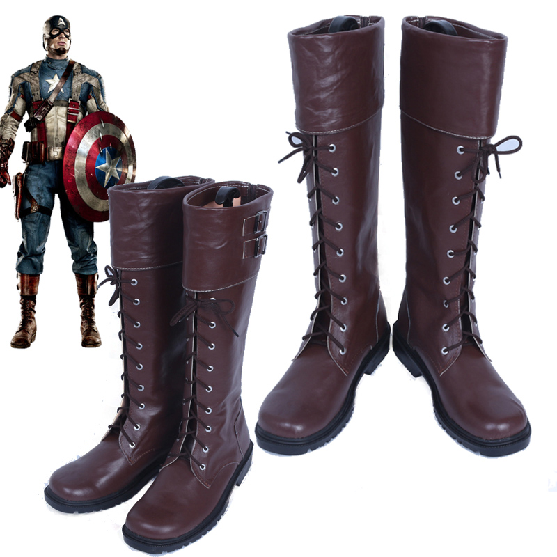 New The Avengers Captain America Winter Soldier Cosplay Shoes Boots Custom Made: