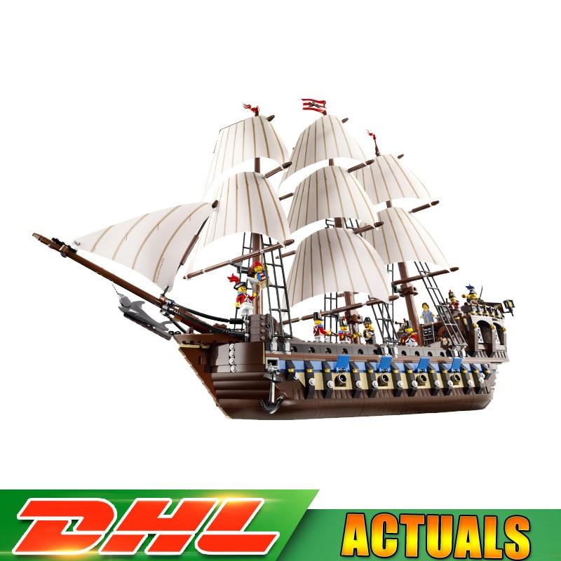 2018 Compatible LegoINGLY 10210 Pirate Ship Warships Model Building Kits Block Briks Educational Toys Creative Gifts