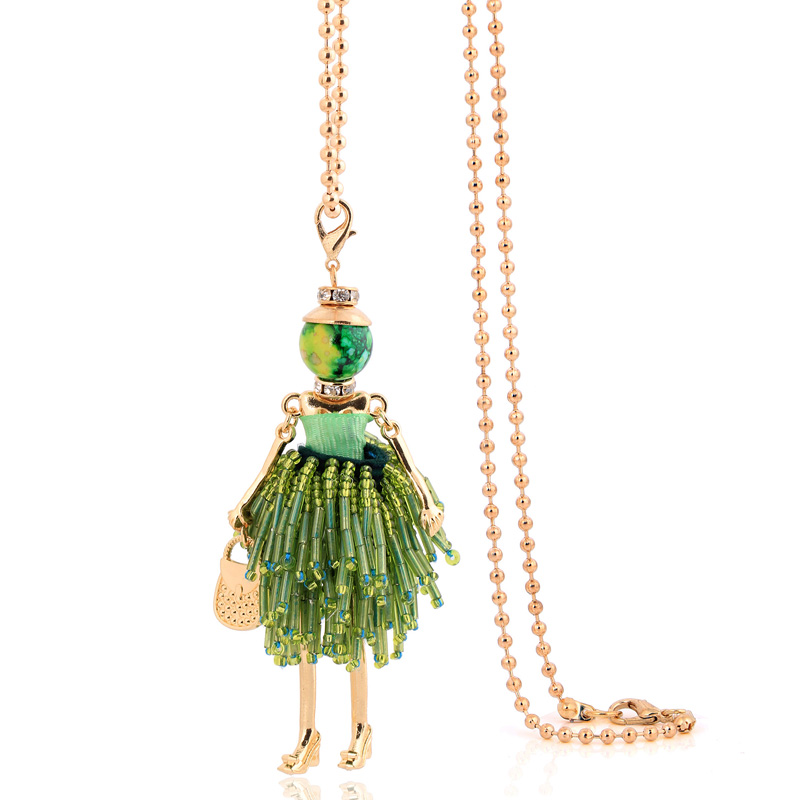 charm female big necklace & pendants jewelry hot 2019 women chokers fashion green tassel long chains classic necklace bohemian