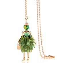 charm female big necklace & pendants jewelry hot 2019 women chokers fashion green tassel long chains classic necklace bohemian