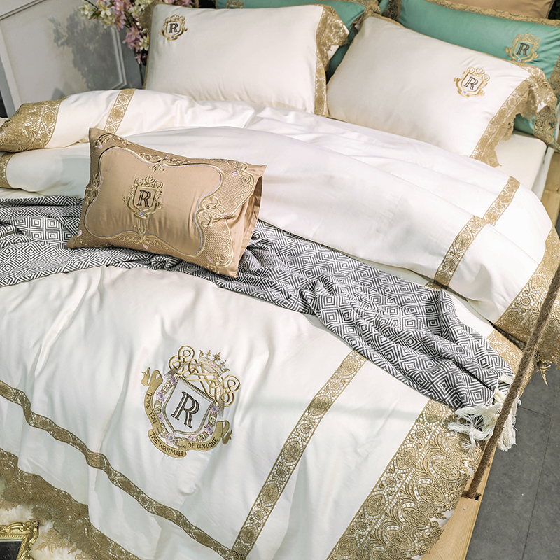 Luxury White Green 80S Egyptian cotton Gold Lace Embroidery Palace Bedding set Duvet Cover Bed sheet Bed Linen Pillowcase 4 7pcs in Bedding Sets from Home Garden