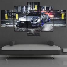 Canvas HD Print Silver Sport Car Poster Wall Art Decor Framework 5 Piece Vehicle GT-R  Paintings Home Modular Pictures