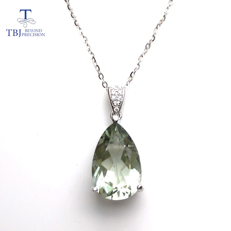 TBJ elegant pendant with natural green amethyst gemstone in 925 sterling silver gemstone jewelry for women