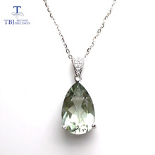 TBJ,elegant pendant with natural green amethyst gemstone in 925 sterling silver, gemstone jewelry for women & girl with gift box