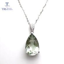 TBJ pendentif élégant, en argent sterling 925, pendentif en améthyste vert naturel, bijoux en pierres précieuses, pour femmes et filles, avec boîte cadeau