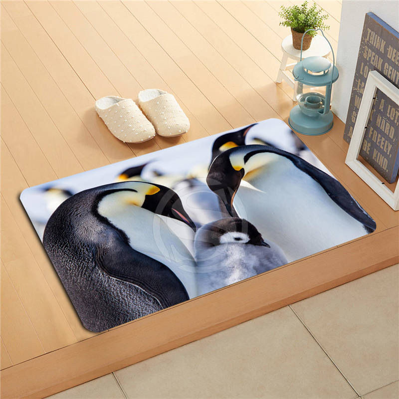 F627m29 Custom Cute Penguin Jumping Doormat Art Design Pattern Printed Floor Hall Bedroom Cool Pad Fashion Rug #20