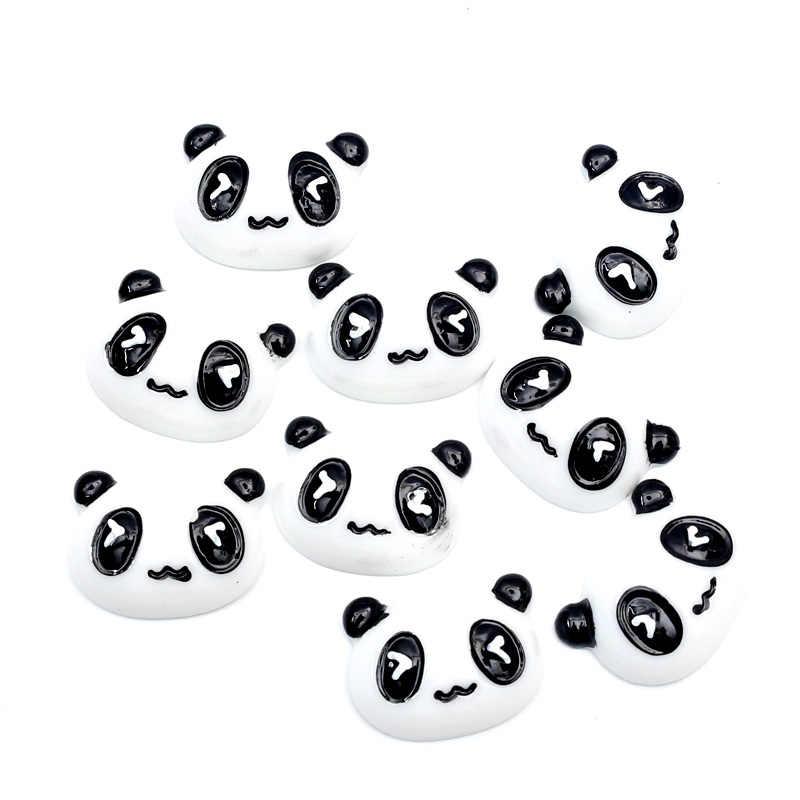 LF 20Pcs Gemengde 21x16mm Panda Hoofd Hars Decoratie Ambachten Plaksteen Cabochon Versieringen Voor Scrapbooking Leuke Diy accessoires